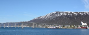 View of Tromso and Arctic Cathedral from stern of ship